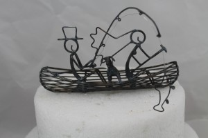 Dog Canoe Fishing Cake Topper